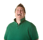 Woman Laughs Out Loud. Plump Caucasian women laughs out loud over white background Royalty Free Stock Photos