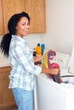 Woman laundry Royalty Free Stock Image