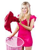 Woman with laundry basket Stock Photos