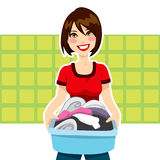 Woman Laundry Chores Royalty Free Stock Photo