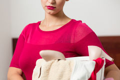 Woman and laundry Stock Photos