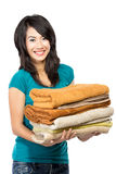 Woman with laundry Stock Photo