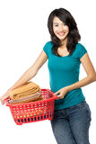 Woman with laundry Royalty Free Stock Images