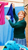 Woman and laundry Stock Photography