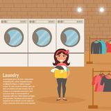 Woman in the Laundry room. Washing clothes. Vector illustration. Cartoon character. Isolated. Flat. Interior Royalty Free Stock Photos