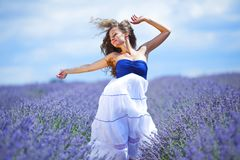 Woman on lavender field Stock Photo