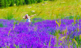 Woman on lavender field Stock Photography
