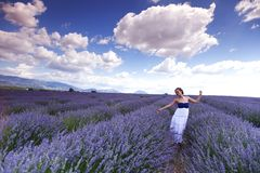 Woman on lavender field Stock Image