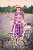 Woman in lavender field Royalty Free Stock Photos