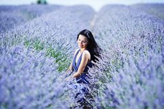 Woman on a lavender field Stock Images