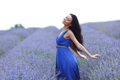 Woman on a lavender field Stock Image