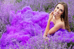 Woman in lavender purple fields Stock Image