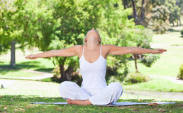 Woman on the lawn doing yoga exercises Stock Images