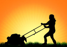 Woman with Lawn Mower Royalty Free Stock Photo