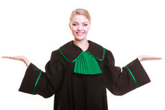 Woman lawyer attorney in classic polish gown with hands copy space Stock Photo