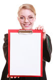 Woman lawyer attorney in classic polish gown holds clipboard blank sign Royalty Free Stock Photography