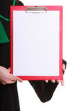 Woman lawyer attorney in classic polish gown holds clipboard blank sign Royalty Free Stock Photos