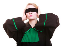 Woman lawyer attorney in polish black green gown with blindfold Stock Image