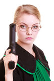Woman lawyer attorney in polish black green gown with gun Royalty Free Stock Image
