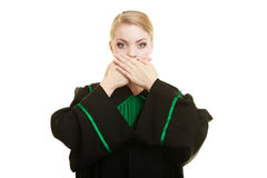 Woman lawyer barrister covering mouth with hands. Royalty Free Stock Photography