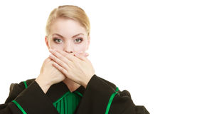 Woman lawyer barrister covering mouth with hands. Royalty Free Stock Photos
