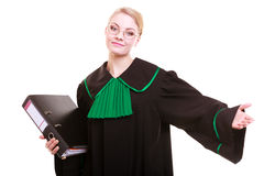 Woman lawyer with folder invitating hand sign Stock Image