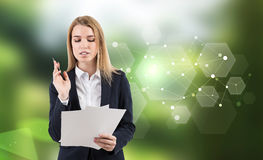 Woman lawyer and green hexagons Stock Image