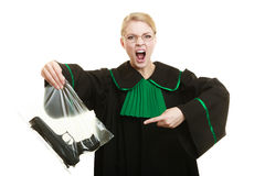 Woman lawyer with gun bag marked evidence for crime. Stock Images