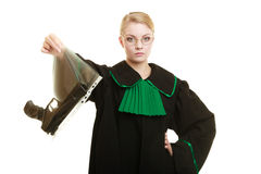 Woman lawyer with gun bag marked evidence for crime. Law court or justice concept. Woman lawyer attorney wearing classic polish black green gown with weapon gun stock photos