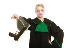 Woman lawyer with gun bag marked evidence for crime. Law court or justice concept. Woman lawyer attorney wearing classic polish black green gown with weapon gun royalty free stock image