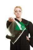 Woman lawyer with gun bag marked evidence for crime. Stock Image