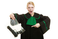Woman lawyer with gun bag marked evidence for crime. Royalty Free Stock Photo
