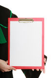 Woman lawyer holding empty blank clipboard Stock Photo