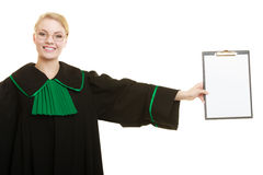 Woman lawyer holding empty blank clipboard Royalty Free Stock Photography