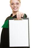 Woman lawyer holding empty blank clipboard Royalty Free Stock Photos