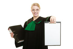 Woman lawyer holding empty blank clipboard Royalty Free Stock Images