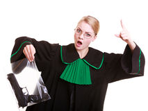 Woman lawyer holds bag with gun marked evidence of crime Royalty Free Stock Photo
