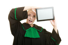 Woman lawyer holds tablet blank copy space. Stock Image