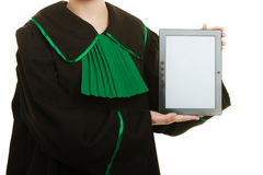Woman lawyer holds tablet blank copy space. Stock Images