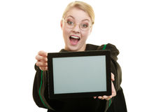 Woman lawyer holds tablet blank copy space. Woman lawyer attorney in classic polish gown holds tablet blank copy space. Technology Stock Photography