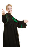 Woman lawyer making welcome inviting gesture Royalty Free Stock Image