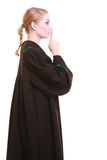 Woman lawyer in polish gown asking for silence Stock Photography