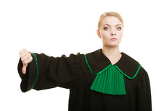 Woman lawyer thumb down hand sign Royalty Free Stock Image