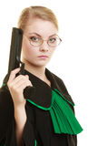 Woman lawyer with weapon gun. Crime Stock Photography