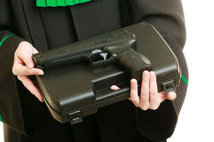 Woman lawyer with weapon gun. Crime Stock Photo