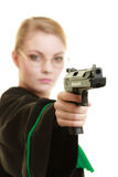 Woman lawyer with weapon gun. Crime Royalty Free Stock Photo