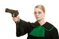 Woman lawyer with weapon gun. Crime Royalty Free Stock Images