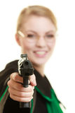 Woman lawyer with weapon gun. Crime. Law court or justice concept. Woman barrister lawyer wearing classic polish black green gown with weapon gun isolated on stock images