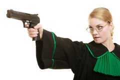 Woman lawyer with weapon gun. Crime Stock Image