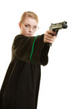 Woman lawyer with weapon gun. Crime. Law court or justice concept. Woman barrister lawyer wearing classic polish black green gown with weapon gun isolated on stock image